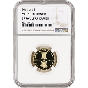 2011-W US Gold $5 Medal of Honor Commemorative Proof - NGC PF70 UCAM