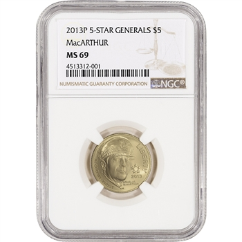 2013-P US Gold $5 5-Star Generals Commemorative BU - NGC MS69