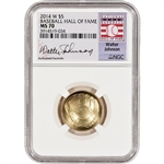 2014-W US Gold $5 Baseball BU - NGC MS70 HOF Label - Walter Johnson