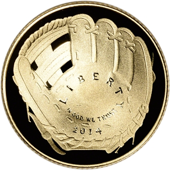 2014-W US Gold $5 Baseball Hall of Fame Commemorative Proof - Coin in Capsule