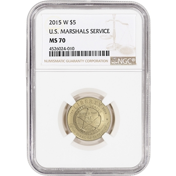 2015-W US Gold $5 Marshals Service Commemorative BU - NGC MS70