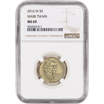 2016-W US Gold $5 Mark Twain Commemorative BU - NGC MS69
