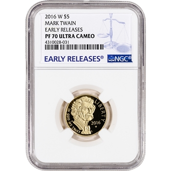2016-W US Gold $5 Mark Twain Commemorative Proof - NGC PF70 Early Releases