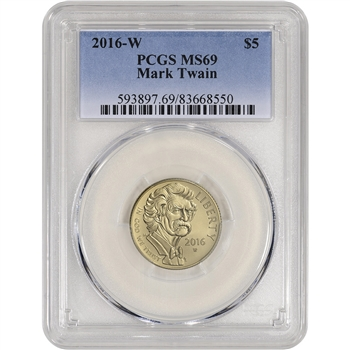 2016-W US Gold $5 Mark Twain Commemorative BU - PCGS MS69