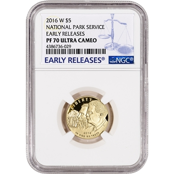 2016-W US Gold $5 National Park Service Commem Proof - NGC PF70 Early Releases