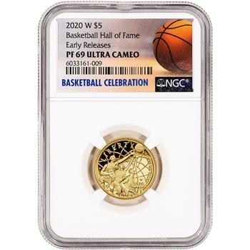2020-W US Gold $5 Basketball Commemorative Proof NGC PF69 Early Releases