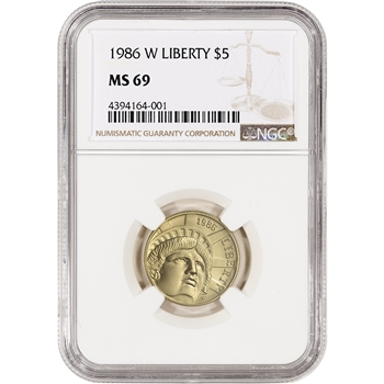 1986-W US Gold $5 Statue of Liberty Commemorative BU - NGC MS69