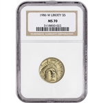 1986-W US Gold $5 Statue of Liberty Commemorative BU - NGC MS70