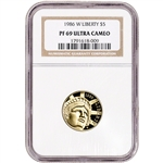 1986 W US Gold $5 Statue of Liberty Commemorative Proof - NGC PF69 UCAM