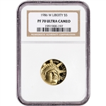 1986-W US Gold $5 Statue of Liberty Commemorative Proof - NGC PF70 UCAM