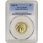 1986-W US Gold $5 Statue of Liberty Commemorative BU - PCGS MS69