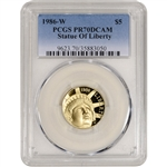 1986-W US Gold $5 Statue of Liberty Commemorative Proof - PCGS PR70 DCAM