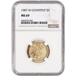 1987-W US Gold $5 Constitution Commemorative BU - NGC MS69