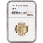 1987-W US Gold $5 Constitution Commemorative BU - NGC MS70