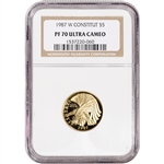 1987-W US Gold $5 Constitution Commemorative Proof - NGC PF70 UCAM