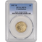 1987-W US Gold $5 Constitution Commemorative BU - PCGS MS70