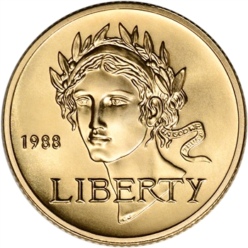 1988-W US Gold $5 Olympic Commemorative BU - Coin in Capsule