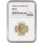 1988-W US Gold $5 Olympic Commemorative BU - NGC MS69