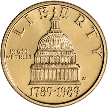1989-W US Gold $5 Congressional Commemorative BU - Coin in Capsule