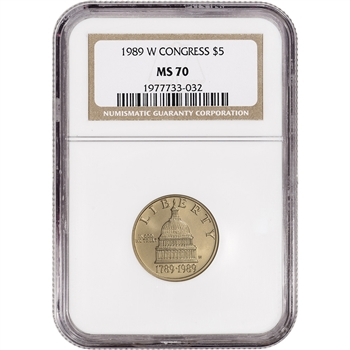 1989-W US Gold $5 Congressional Commemorative BU - NGC MS70