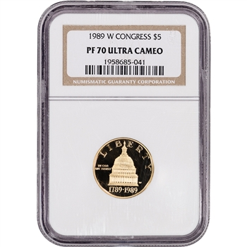 1989-W US Gold $5 Congressional Commemorative Proof - NGC PF70 UCAM
