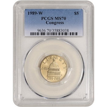 1989-W US Gold $5 Congressional Commemorative BU - PCGS MS70