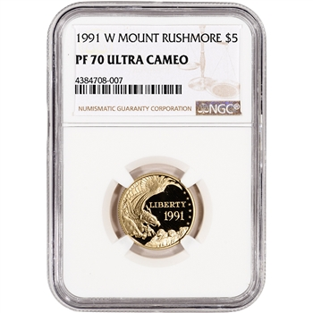 1991-W US Gold $5 Mount Rushmore Commemorative Proof - NGC PF70 UCAM
