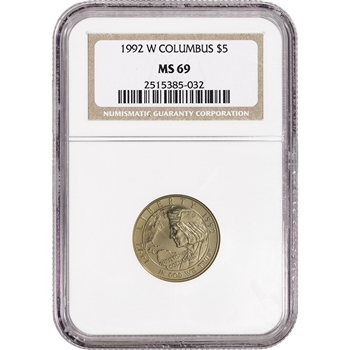 1992-W US Gold $5 Columbus Quincentenary Commemorative BU - NGC MS69