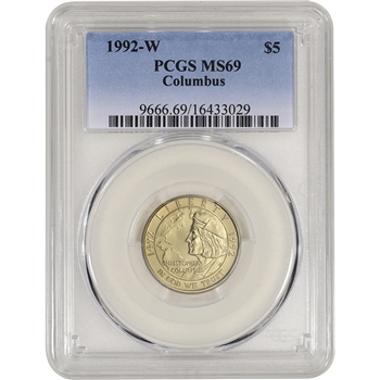 1992-W US Gold $5 Columbus Quincentenary Commemorative BU - PCGS MS69