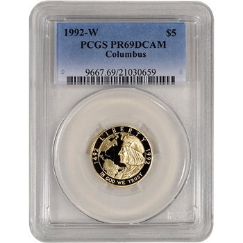 1992-W US Gold $5 Columbus Quincentenary Commemorative Proof - PCGS PR69 DCAM