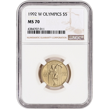 1992-W US Gold $5 Olympic Commemorative BU - NGC MS70