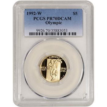 1992-W US Gold $5 Olympic Commemorative Proof - PCGS PR70 DCAM