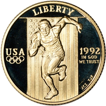 1992-W US Gold $5 Olympic Commemorative Proof - Coin in Capsule