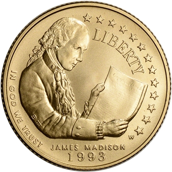 1993-W US Gold $5 Bill of Rights Commemorative BU - Coin in Capsule