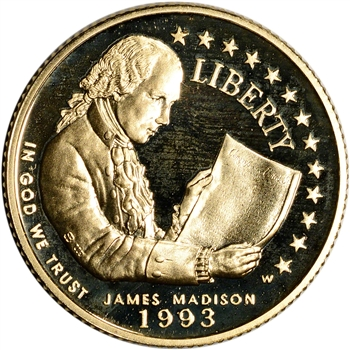 1993-W US Gold $5 Bill of Rights Commemorative Proof - Coin in Capsule