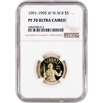 1993-W US Gold $5 World War II Commemorative Proof - NGC PF70 UCAM