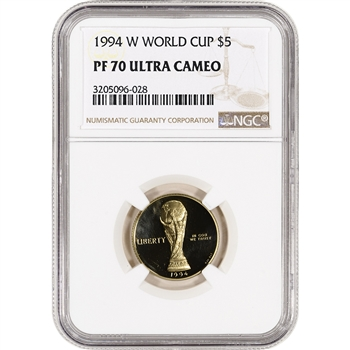1994-W US Gold $5 World Cup Commemorative Proof - NGC PF70 UCAM