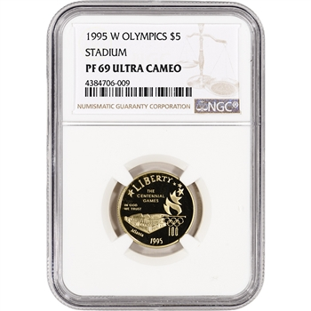 1995-W US Gold $5 Olympic Stadium Commemorative Proof - NGC PF69 UCAM