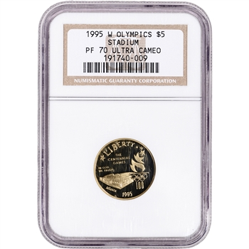 1995-W US Gold $5 Olympic Stadium Commemorative Proof - NGC PF70 UCAM