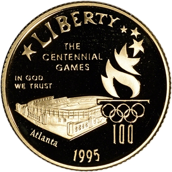 1995-W US Gold $5 Olympic Stadium Commemorative Proof - Coin in Capsule