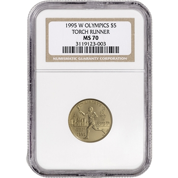 1995-W US Gold $5 Olympic Torch Runner Commemorative BU - NGC MS70