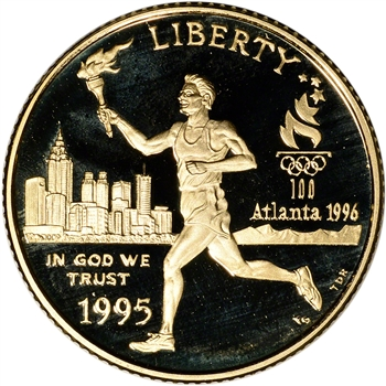 1995-W US Gold $5 Olympic Torch Runner Commemorative Proof - Coin in Capsule