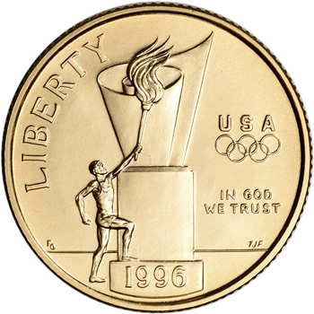 1996-W US Gold $5 Olympic Cauldron Commemorative BU - Coin in Capsule