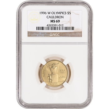 1996-W US Gold $5 Olympic Cauldron Commemorative BU - NGC MS69