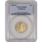 1996-W US Gold $5 Atlanta Olympic Cauldron Commemorative BU - PCGS MS69