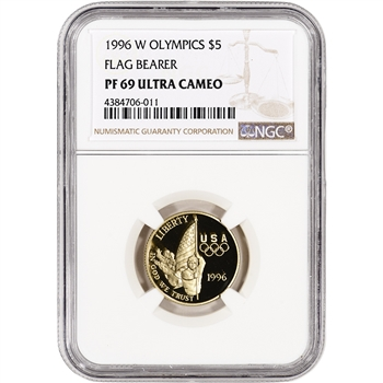 1996-W US Gold $5 Olympic Flag Bearer Commemorative Proof - NGC PF69 UCAM