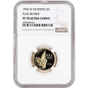 1996-W US Gold $5 Olympic Flag Bearer Commemorative Proof - NGC PF70 UCAM