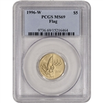1996-W US Gold $5 Atlanta Olympic Flag Bearer Commemorative BU - PCGS MS69