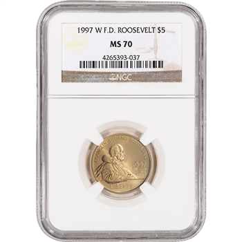 1997-W US Gold $5 Franklin Delano Roosevelt Commemorative BU - NGC MS70