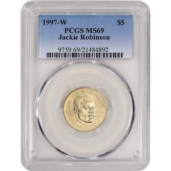 1997-W US Gold $5 Jackie Robinson Commemorative BU - PCGS MS69